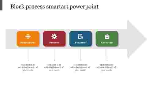 Blockprocesssmartartpowerpointwitharrowshape