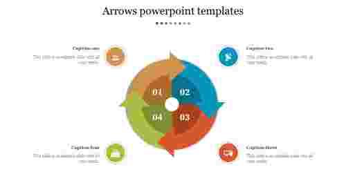 MulticolorfourProcessArrowsPowerpointTemplates