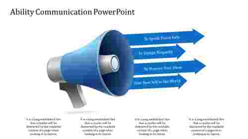 Communication powerpoint template with megaphone speaker