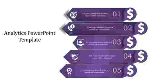 A five noded analytics powerpoint template