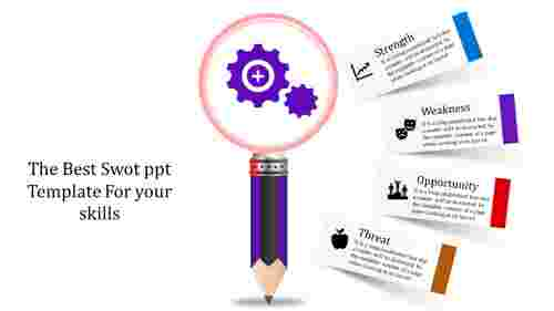 Pencil model Swot PPT Template