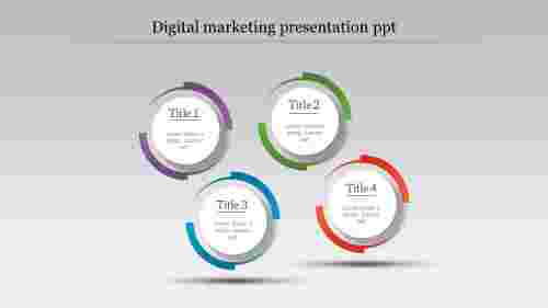 Digital Marketing Presentation Template - Four Nodes