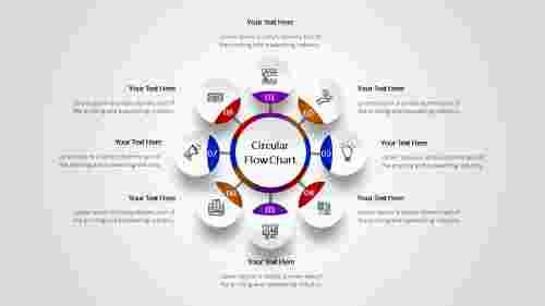 8 steps Circular flow chart template