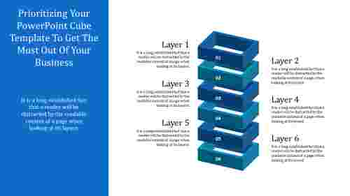 Powerpoint cube template - Six Layers
