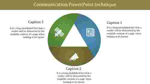 Communication powerpoint template with Three levels