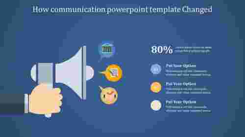 Three level communication powerpoint template with speaker diagrams