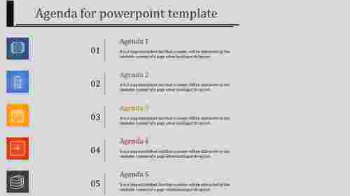 A five noded agenda slide template PPT