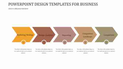 A five noded POWERPOINT DESIGN TEMPLATES FOR BUSINESS