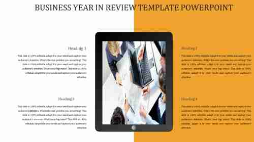 A four noded BUSINESS YEAR IN REVIEW TEMPLATE POWERPOINT
