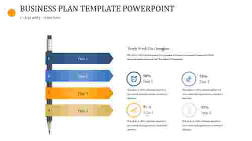 A four noded BUSINESS PLAN TEMPLATE POWERPOINT