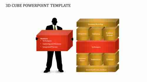 A three noded 3D CUBE POWERPOINT TEMPLATE