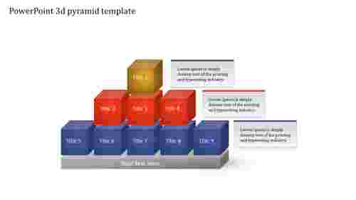 A three noded PowerPoint 3d pyramid template
