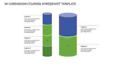 A Six Noded 3D COMPARISON CYLINDER POWERPOINT TEMPLATE