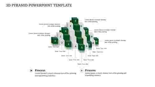 A nine noded 3D PYRAMID POWERPOINT TEMPLATE