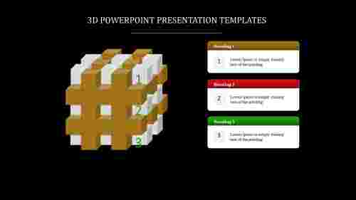 A three noded 3D POWERPOINT PRESENTATION TEMPLATES