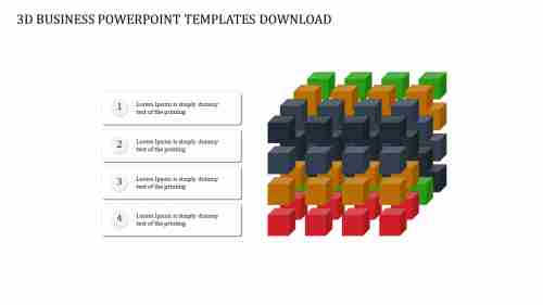A four noded 3D BUSINESS POWERPOINT TEMPLATES DOWNLOAD