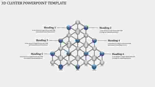 A six noded 3D CLUSTER POWERPOINT TEMPLATE