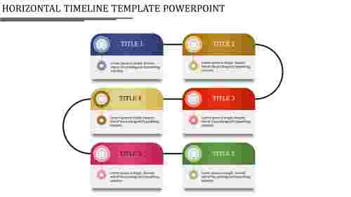 horizontal timeline template powerpoint - layered horizontal