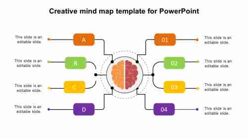 Creative mind map template for PowerPoint presentation