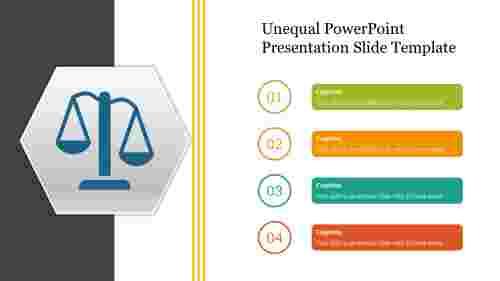Unequal%20PowerPoint%20Presentation%20Slide%20Template%20Diagram