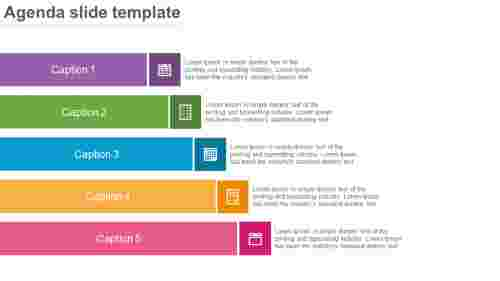 A agenda slide PPT template - rectangle shapes