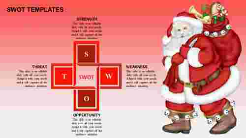 merry christmas powerpoint-swot ppt-templates-4-red