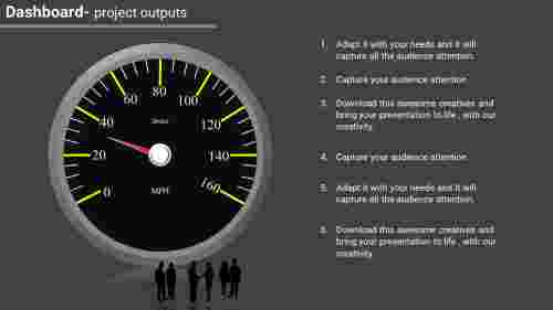 project dashboard powerpoint with grey background