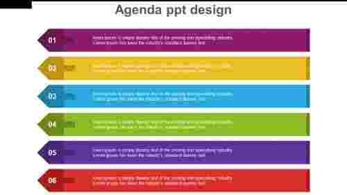 multicolor Arrow agenda PPT design