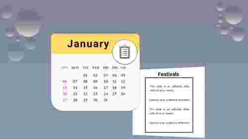 PowerPoint calendar slide 2019