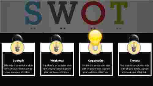 Flat Swot Analysis Powerpoint Presentation