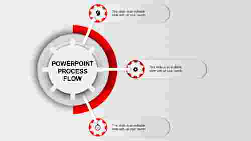 Gearwheel Process Flow PPT Template-3 Red