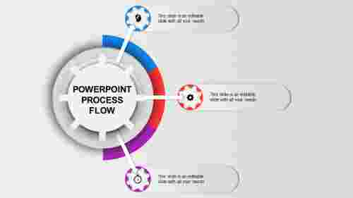 Gearwheel Process Flow PPT Template-3 Multi Color