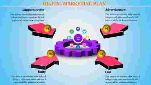 Digital Marketing Plan Powerpoint Template With 3D Model