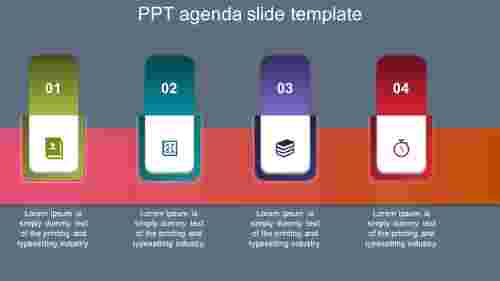 Four steps PPT agenda slide template