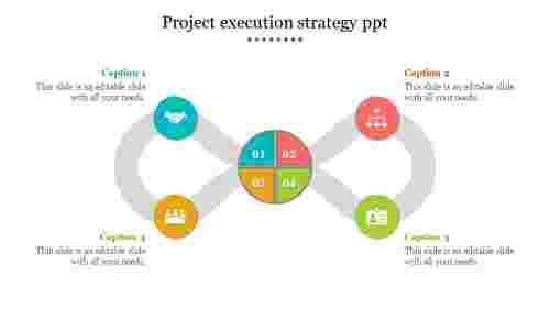 Project%20Execution%20Strategy%20PPT%20Template%20With%20Four%20Nodes