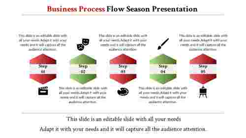Hexagon powerpoint presentation process flow