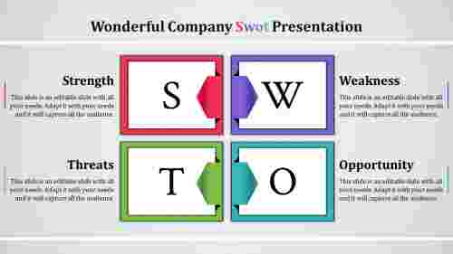 swot analysis slide template-company swot-4-multi color