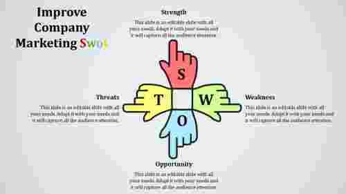 SWOT PowerPoint template download-Hand model
