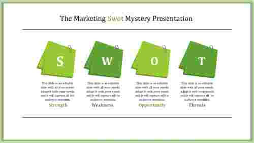 interactive SWOT analysis PowerPoint slide