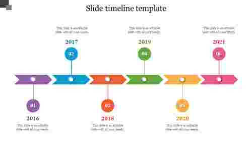 Arrow slide timeline template for presentation