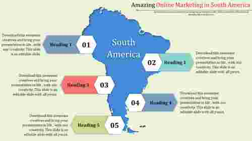 OnlineMarketingStrategyPPTWithSouthAmericaMap