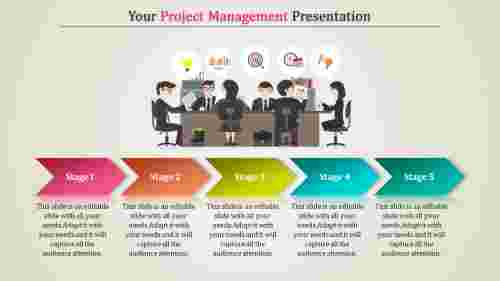 Project management ppt template with arrow shape