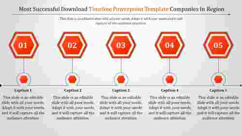 Hexagonal Download Timeline Powerpoint Template
