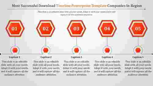 Hexagonal Download Timeline Powerpoint Template
