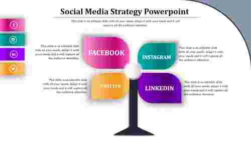 social media strategy powerpoint template - Tree Model