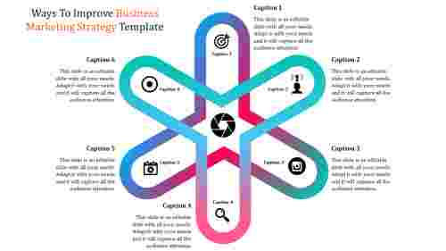 Business marketing strategy template using star diagram