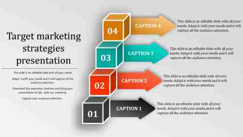 Target marketing strategies templates with arrows and cubes