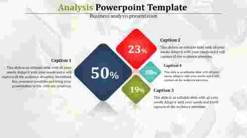analysis powerpoint template with colorful diamonds
