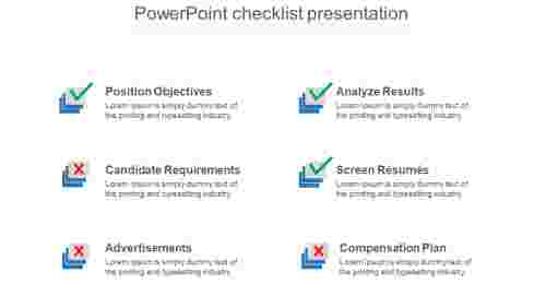 Requirements of PowerPoint checklist templates