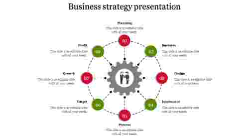 A eight noded business strategy ppt template